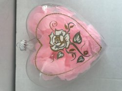 Glass Heart with Rose Petal for Valentine's Day