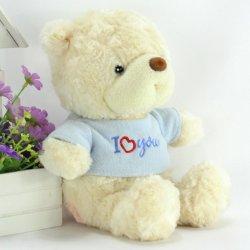 Rose Plush Wearing T Shirt Fluffy Plush Animal Toy Cute Stuffed Yellow Teddy Bear