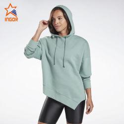 Women Sports Wear Hoodies Asymmetrical Hem Clothes