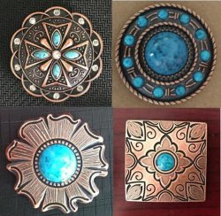 Concho with Turquoise Color Stone for Leather Goods