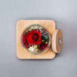 Factory Handmade Preserved Rose Flowers in Glass for Gift
