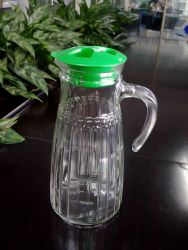 Water Glass Jug with Cap and Decoration