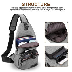 Canvas Sling Backpack Sports Chest Bag with Charging Port