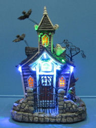 """10"""" LED Bat Ghost House C with 11 LED Lights for Halloween Party Decoration"""