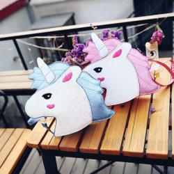 Cartoon Sweet Unicorn Backpack Crossbody Bag Keychain Zipper Short PU Leather Wallet Unicorn Bag