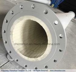 Wear Resistant Pipe Lined Ceramics with Adhesive and Metal Pieces