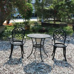 Cast Aluminum Table And Chairs 3 Set Outdoor Furniture Garden Used For Patio
