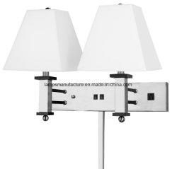 Power Outlet Hotel Double Wall Lamp with Wire Cover