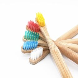 New Natural Soft Bristle Head Round Bamboo Material Handle Toothbrush