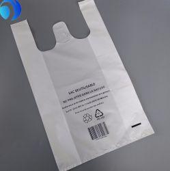 HDPE/LDPE PE Custom Plastic Corn Starch Shopping Supermarket Biodegradable Compostable Environment-Friendly Printing T-Shirt Bags