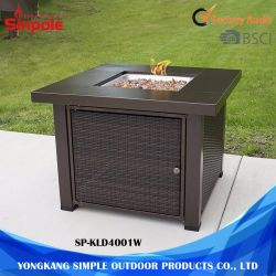 Wholesale Outdoor Square Wicker Gas Fire Pit, 38""