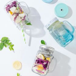 Food Grade Glass Drinking Juice Glass with Handle
