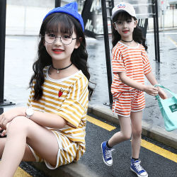 Girls Striped Short-Sleeved T-Sport Cotton Shorts Kids Clothes