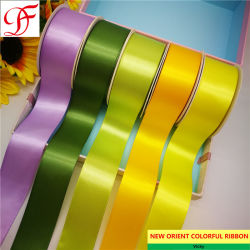 25mm Luxury Satin /& Sheer Organza Ribbon with flower patten Yellow gold colour