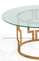 Modern Brass Color Glass Top Coffee Table LC2204