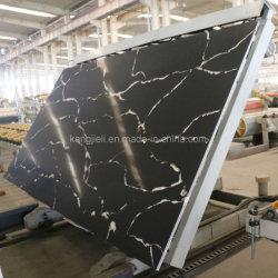 White Vein Black Color Calacatta Quartz Stone