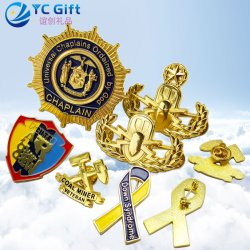 Factory Custom School Sport Enamel Metal Crafts Badges Zinc Alloy Gold Plated Personalized 3D Emblem Award Military Army Us Police Lapel Pins with Your Won Logo
