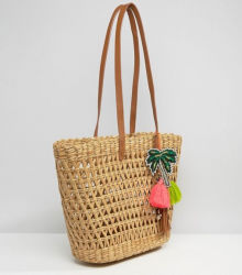 Small Colorful Tassel Decoration Beach Vine Tote Bag (LD-17003)