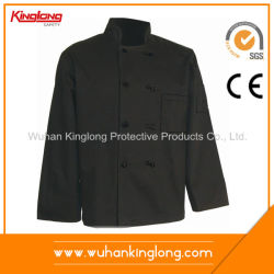 Black Color Fabric Button High Duty Cook Jacket