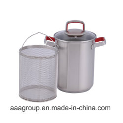 Stainless Steel Cooking Asparagus Pot with Silicone Handle/Knob