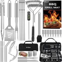 Premium Quality BBQ Grill Tools Set with Thick Stainless Steel Fork, Tongs& Spatula - Complete Grilling Accessories in Portable Bag - Perfect Grill Set Gift.