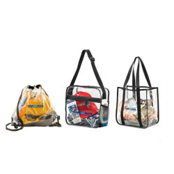 Custom Clear PVC Sports Stadium Bag Tote with Adjustable Shoulder Strap