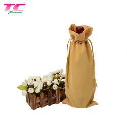 Stock Single Bottle Wine Dust Bag Velvet Drawstring Bags for Gift & Party