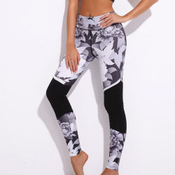 Black and White Flower Printed Stitching Yoga Pants Sports Leggings Pants