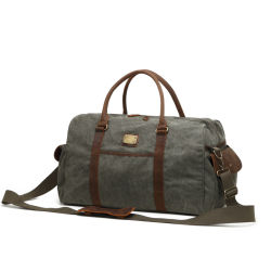 China Canvas Bag Factory Sport Outdoor Duffle Bag Travel with Genuine Leather (RSF-994-1)