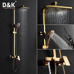 Copper Bathroom Entrance Type Waterfall Triple Hot And Cold Water Bath Shower Faucet Set