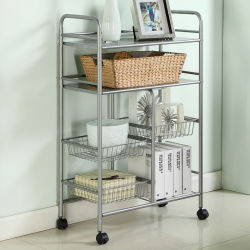 4 Tier Carbon Steel Wire Shelving Food Cart Kitchen Accessories Metal  Storage Kitchen Trolley Shelf