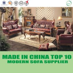 Fancy Wood Craft Classical Home Furniture Leather Sofa Set