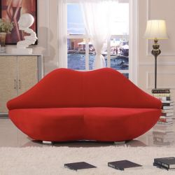 Beau Red Lip Shaped Fancy Bocca Sofa