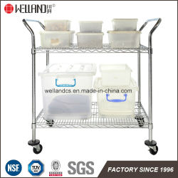 Adjustable Metal Wire Service Cart 2 Tier Restaurant Hotel Housekeeping Maid Cart Trolley