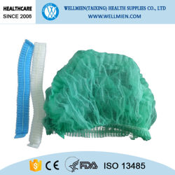 Disposable Hospital Surgical Food Non-Woven Single & Double Elastic Clip Bouffant Mob Cap