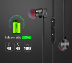 Magnetic Wireless Headphone Metal Sports Bluetooth Headset in-Ear Earphone