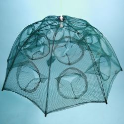 8 Holes Umbrella Type Portable Foldable Fishing Trap Cast Net Crab Fishingfish Minnow 80X80cm