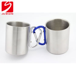 Stainless Steel Portable Travel Water Tea Coffee Mug with D-Ring Carabiner Hook as Handle for Outdoor Sports Camping Hiking Climbing Home Office Adults & Kids