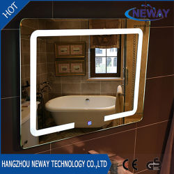 Sliver Makeup LED Bathroom Smart Mirror, Illuminated Beveled Wall Mirror, Dressing Glass Light Mirror