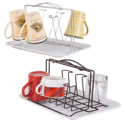 Eco Friendly Wall Mounted Metal Hanging Cup Shelf with Drainer Plate