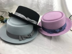 ac534ef2c37e93 Fashion Women and Man Wool Felt Porkpie Fedora Hat with Grossgrain Band