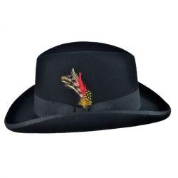 d4ea894a4d1fb7 Wholesale Fashion Feather Decoration Wool Felt Homburg Men's Bowler Hat