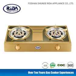 New Model Color Stainless steel Panel Double Burern Household Gas Stove/Kitchen Appliance
