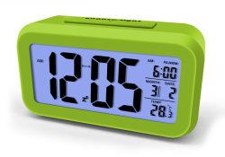 Digital White LED Backlight Shows Alarm Clock with Night Light Sensor&Temp