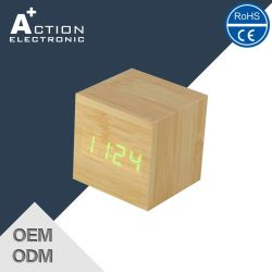 Sound Controlled Cube LED Alarm Smart Wooden Clock with Temperature