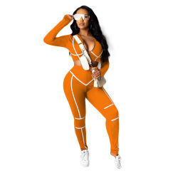 Women Fitness Sports Yoga Wear 2PCS Set Long Sleeves Crop Top and Pants Striped Patchwork Fashion Two Piece Women Clothing