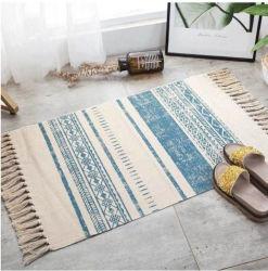 Hand Woven Cotton Linen Carpet Rug Floor Mat