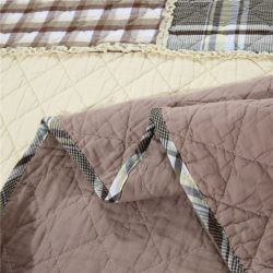 New Arrival Check Patchwork Quilt Set with Cotton Filling