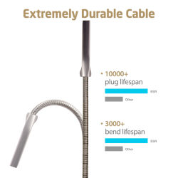 Wholesales Strong Zinc Alloy Connector Stainless Steel USB Charging Cable
