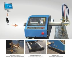 portable metal plate CNC gas flame& plasma cutting machine wth steel track